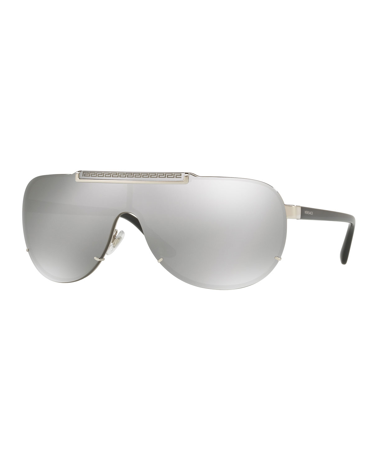 4b54c83851 Versace Linea Rossa Mirrored Shield Sunglasses In Silver   Grey Silver  Mirror
