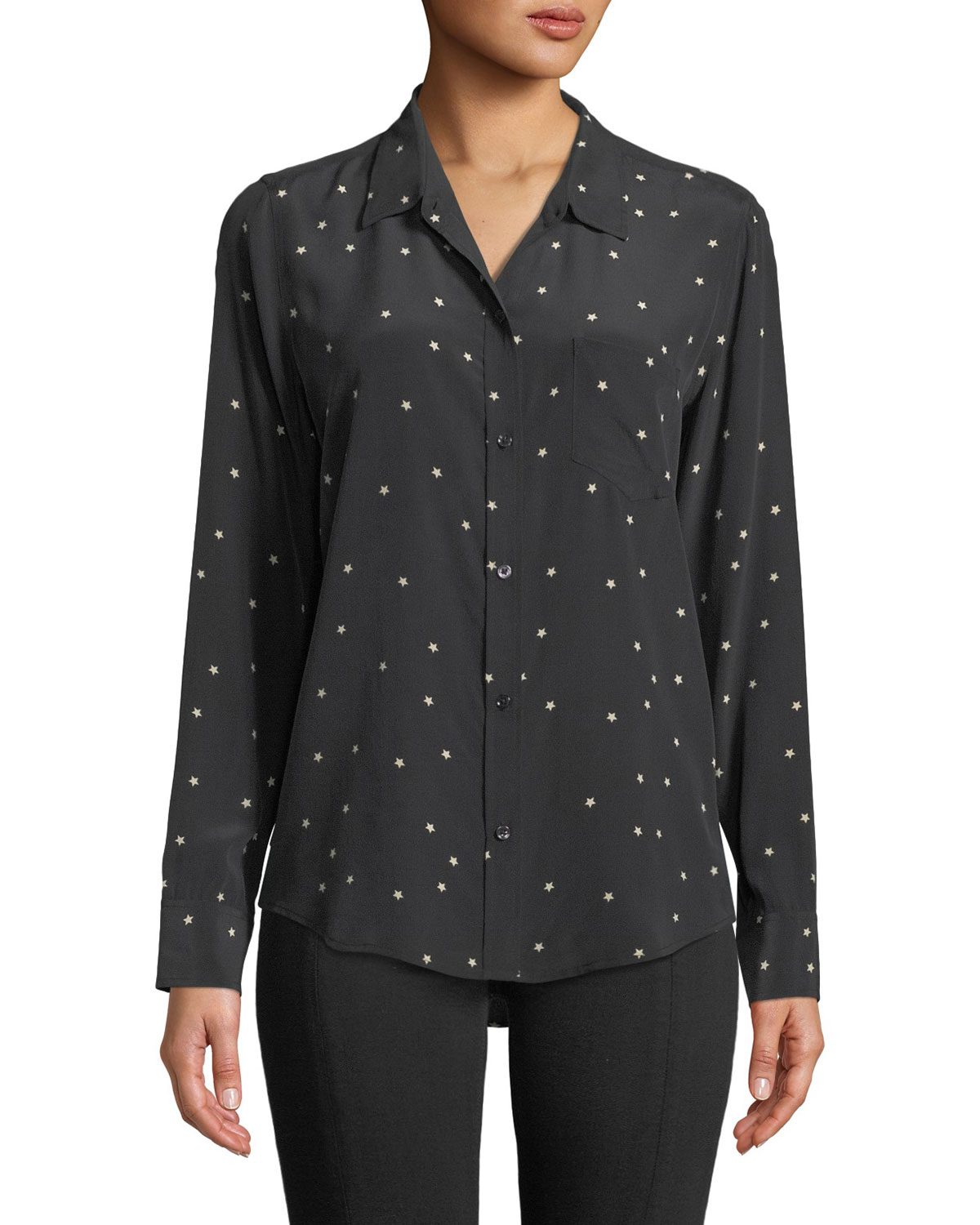 f2540dc0e8dfad Rails Kate Star-Print Silk Button-Front Shirt With Pocket In Twinkle ...
