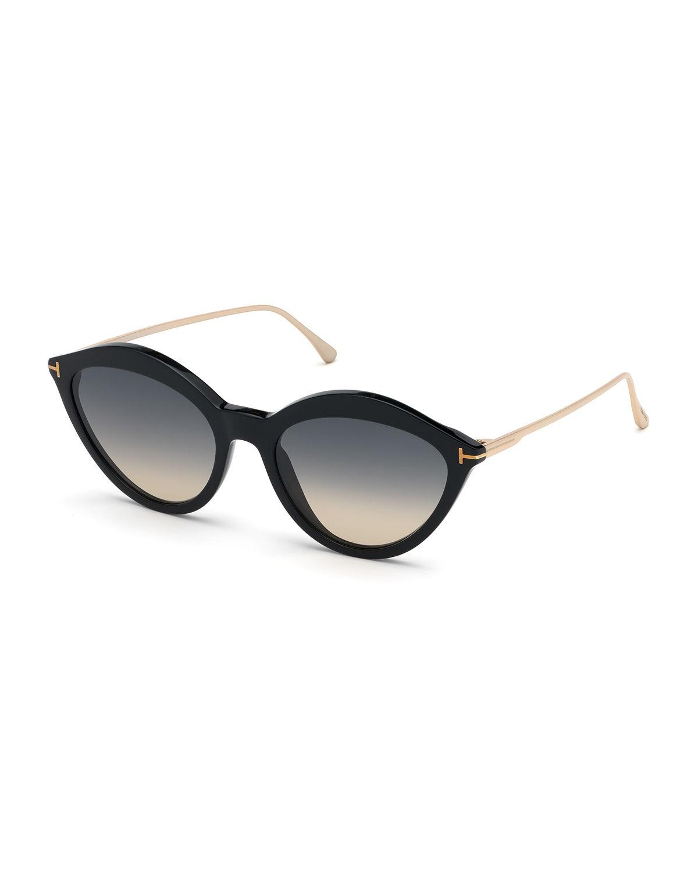 b691ad926ce1 Tom Ford Chloe Cat-Eye Acetate   Metal Sunglasses In Black