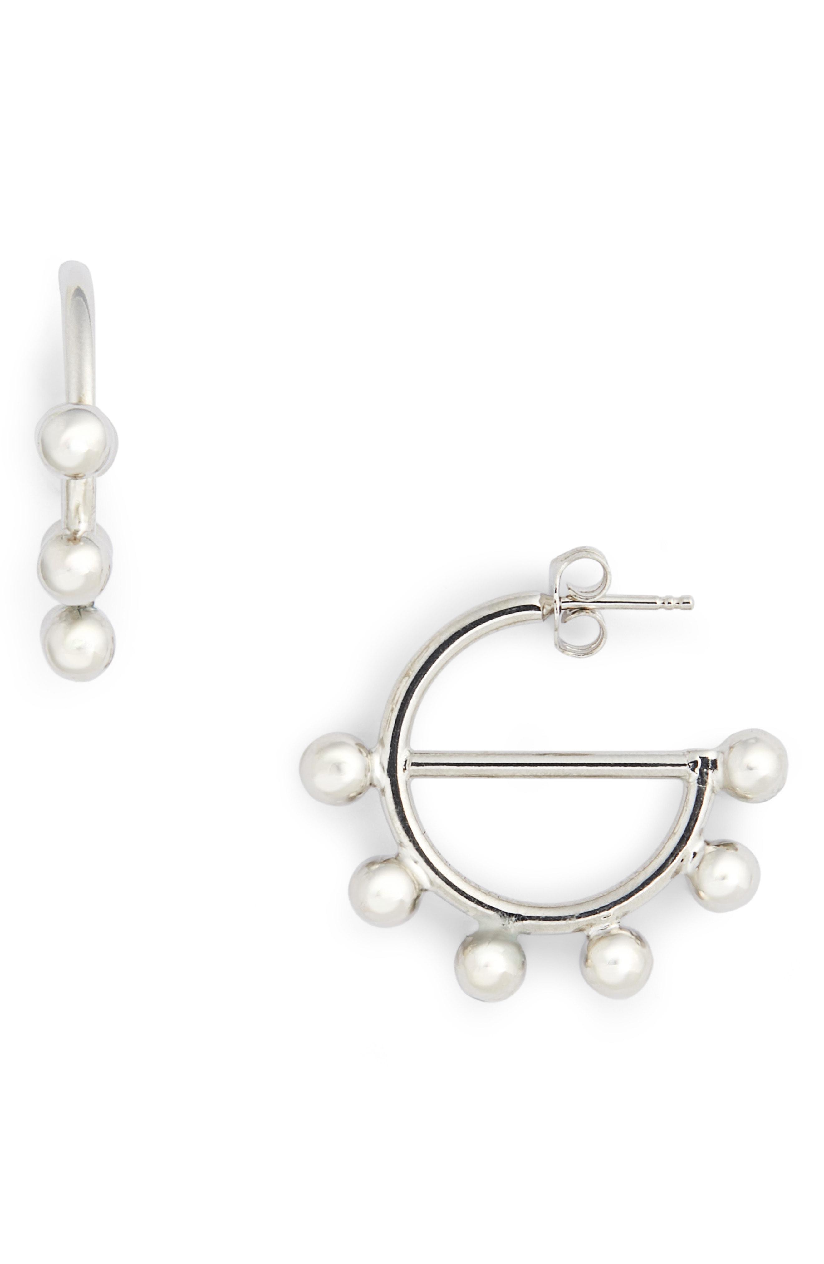 1a6791765 J.W.Anderson Mini Disc Hoop Earrings In Silver   ModeSens