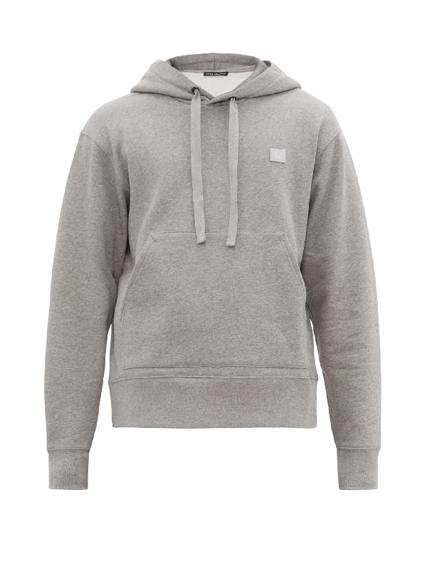 Acne Studios Hooded Oversized Face Patch Sweatshirt In Grey