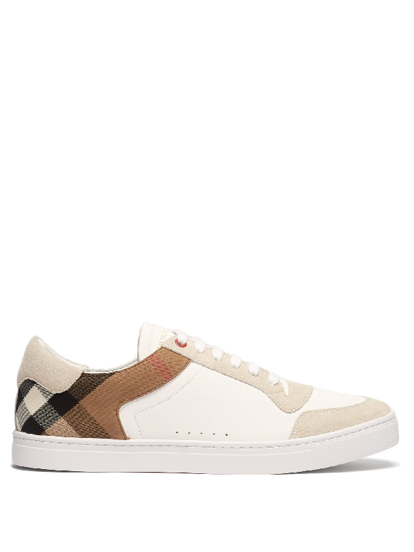 Burberry Rubberised-leather, Suede And Checked Canvas Sneakers - White In Optic White