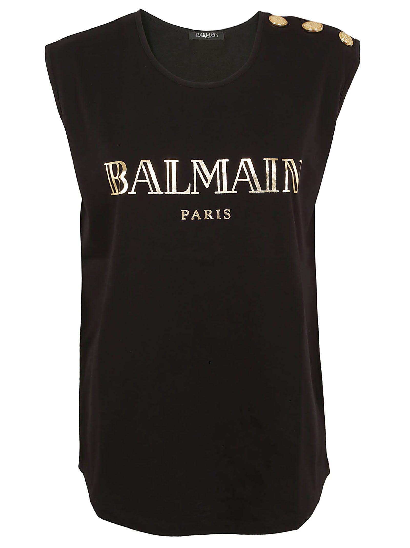 392730b9 Balmain Logo Cotton Jersey Sleeveless T-Shirt In Black | ModeSens