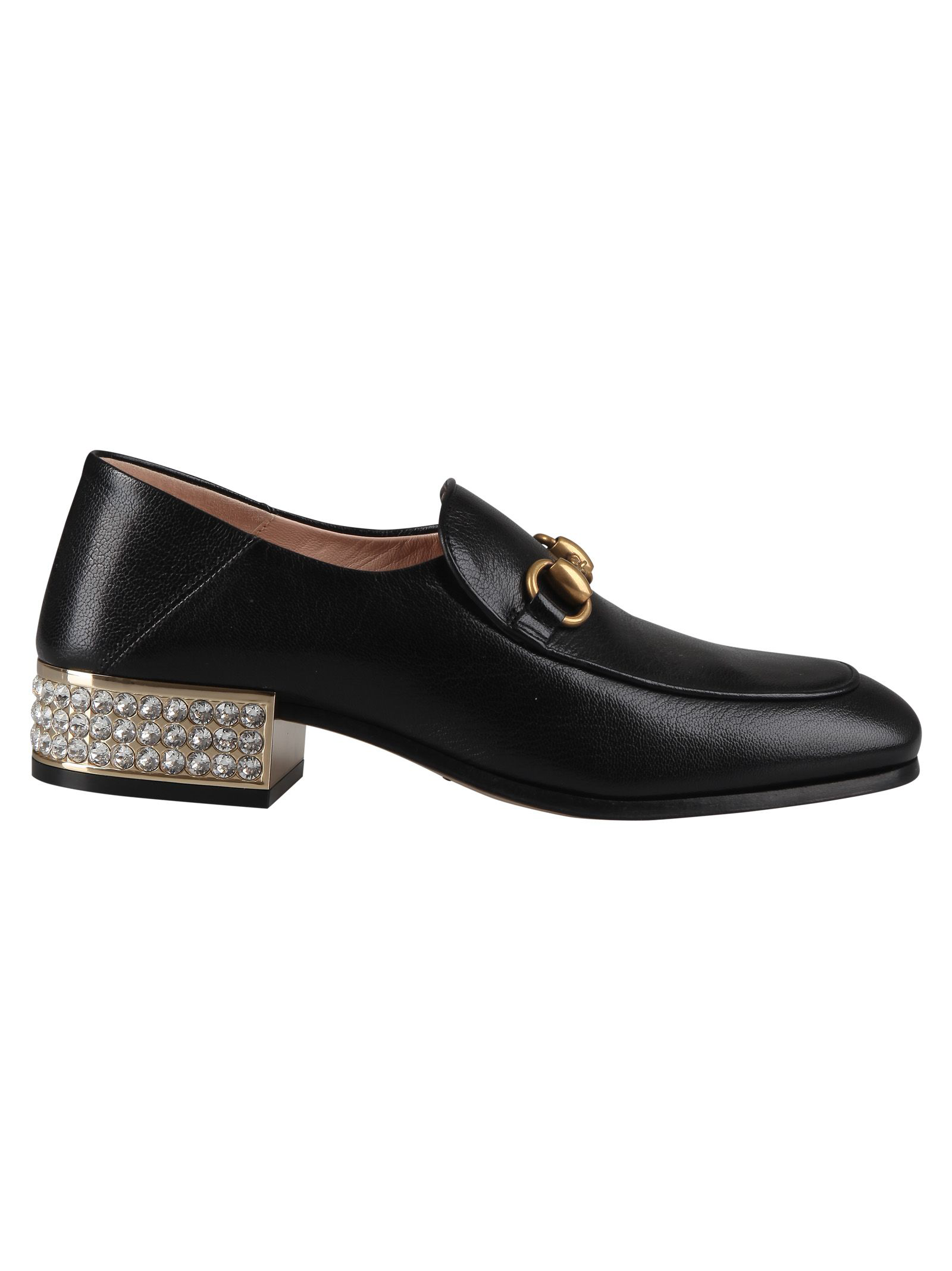 f6aa148d344 Gucci Horsebit Crystal Leather Loafers In Black