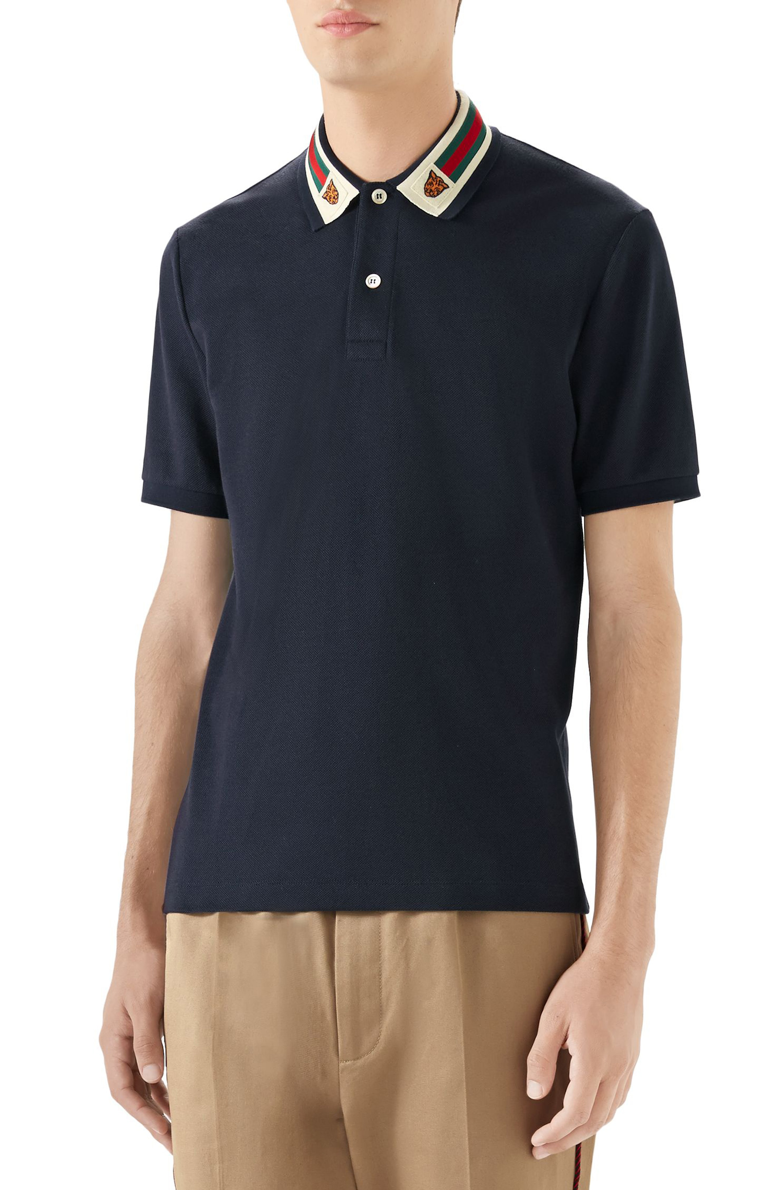 7af310f80 Gucci Tiger-Patch Cotton-Blend PiquÉ Polo Shirt - Navy In Blue ...