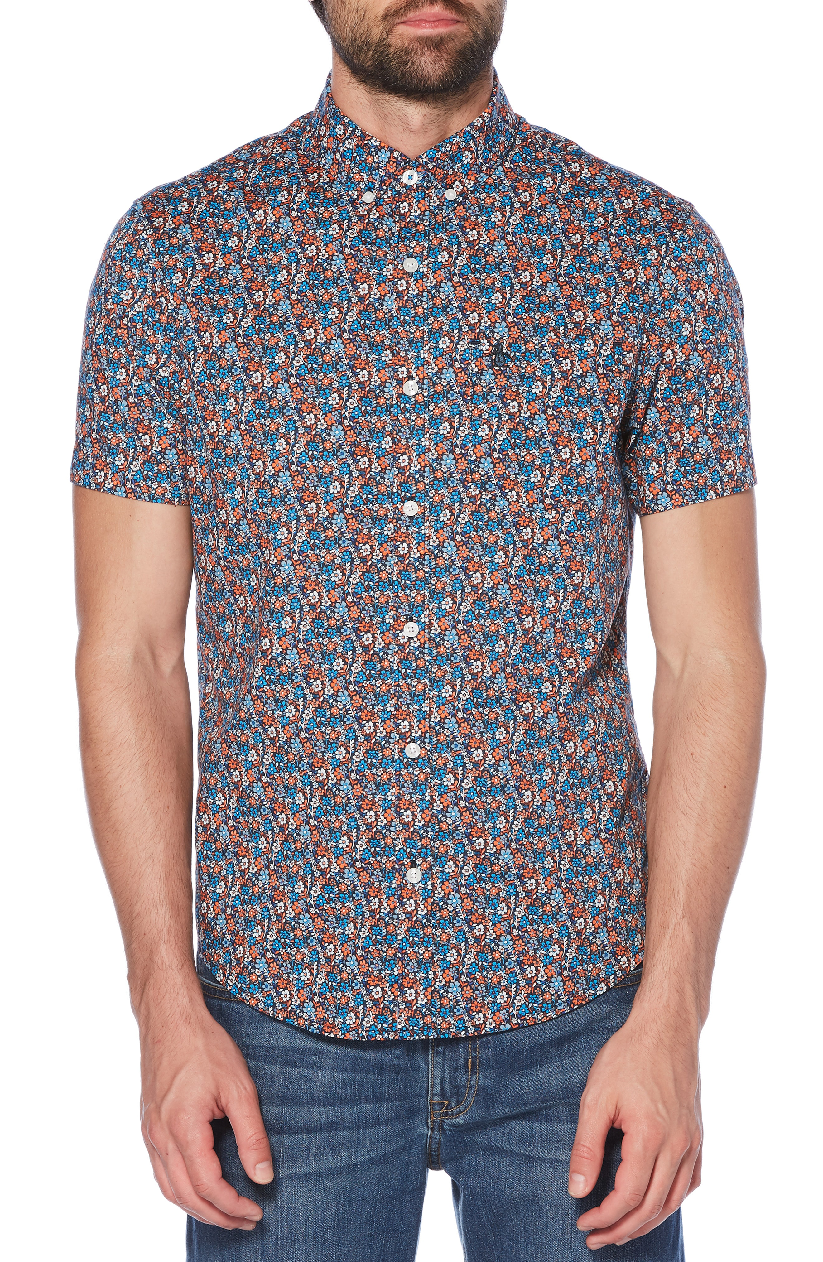 ed1a74a0 Original Penguin Ditsy Floral Print Woven Shirt In Dark Sapphire ...
