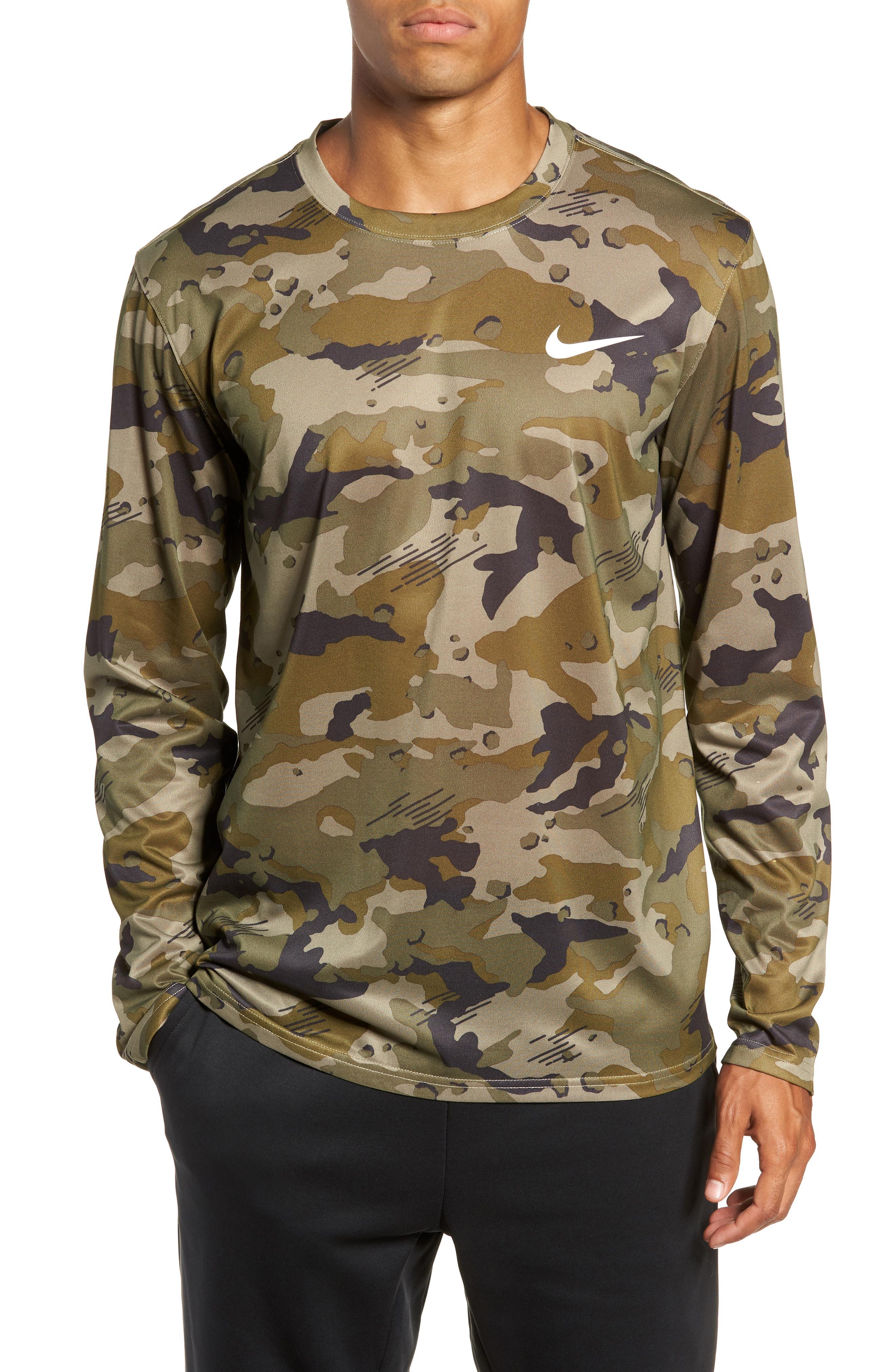 3f3f914698de9c Nike Dry Long Sleeve Camo T-Shirt In Neutral Olive/ White | ModeSens
