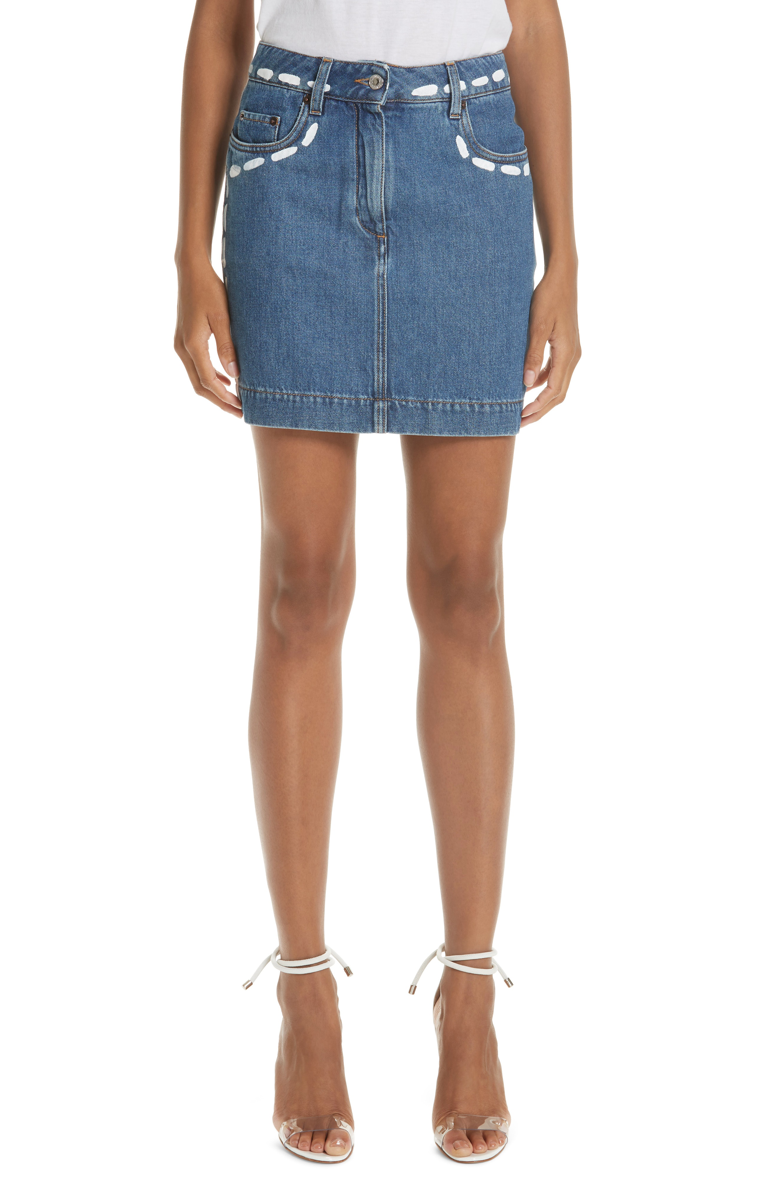 b4078fd7e Moschino Dotted Line Denim Miniskirt | ModeSens