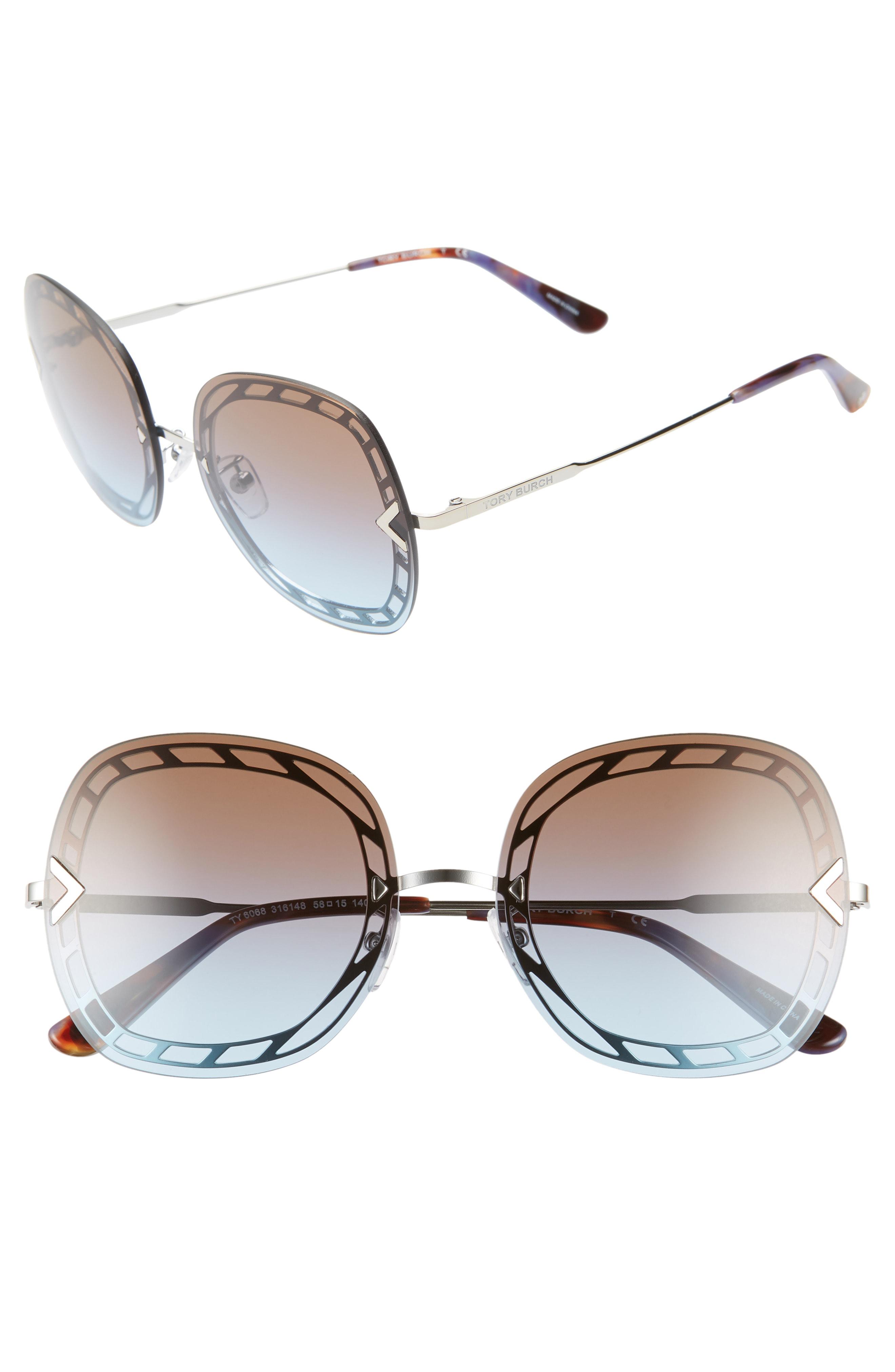 efae584a75f2 Tory Burch 58Mm Gradient Square Sunglasses - Silver/ Purple Gradient In  Brown
