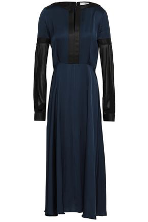 Amanda Wakeley Woman Two-tone Chiffon And Satin Midi Dress Navy
