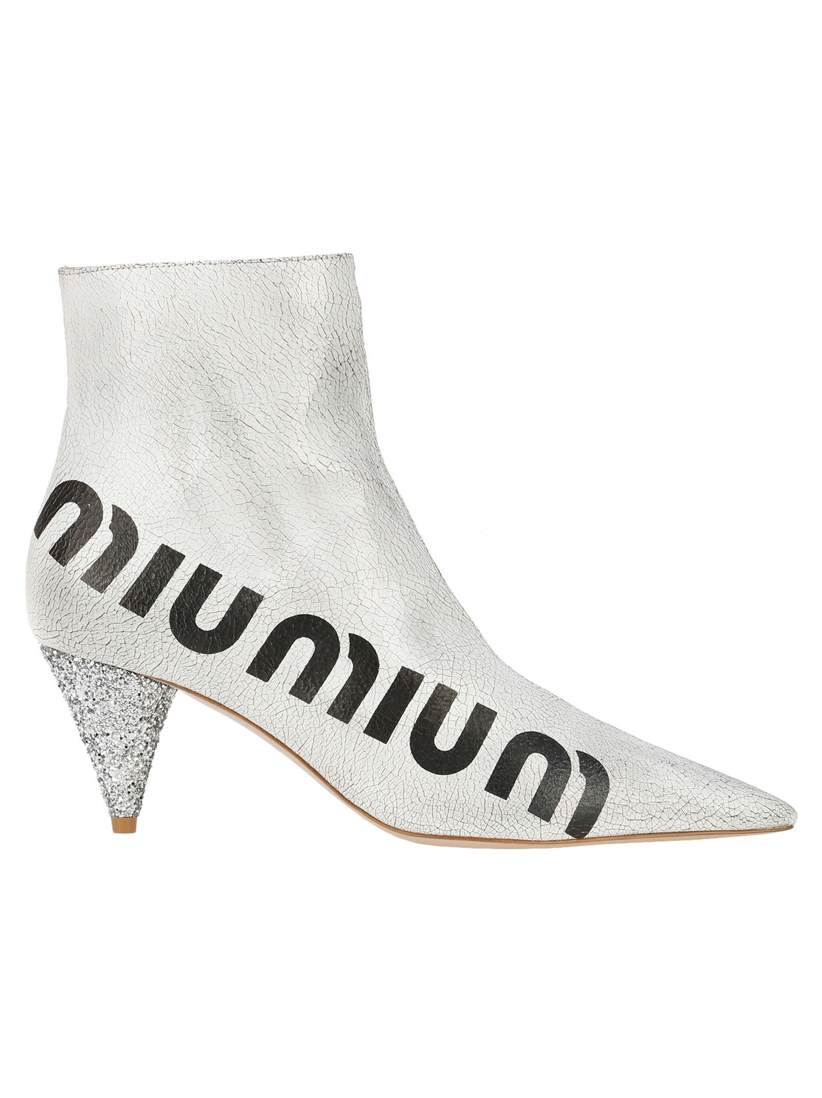 67ea7b5352a0 Miu Miu Logo-Print Glossed Cracked-Leather Ankle Boots In White ...