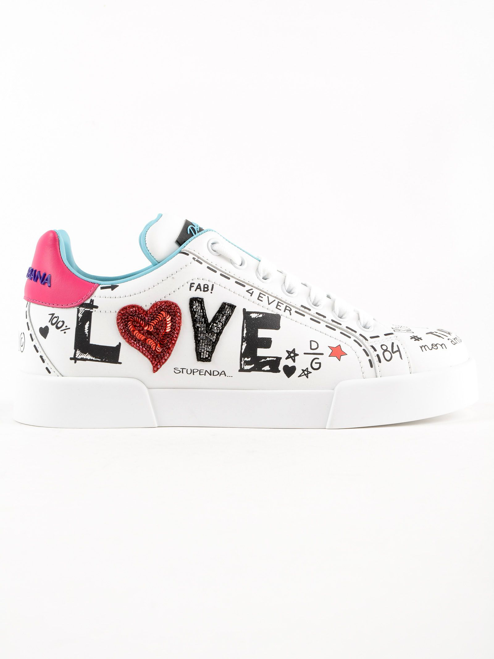 Dolce gabbana printed calfskin portofino sneakers with patch in white