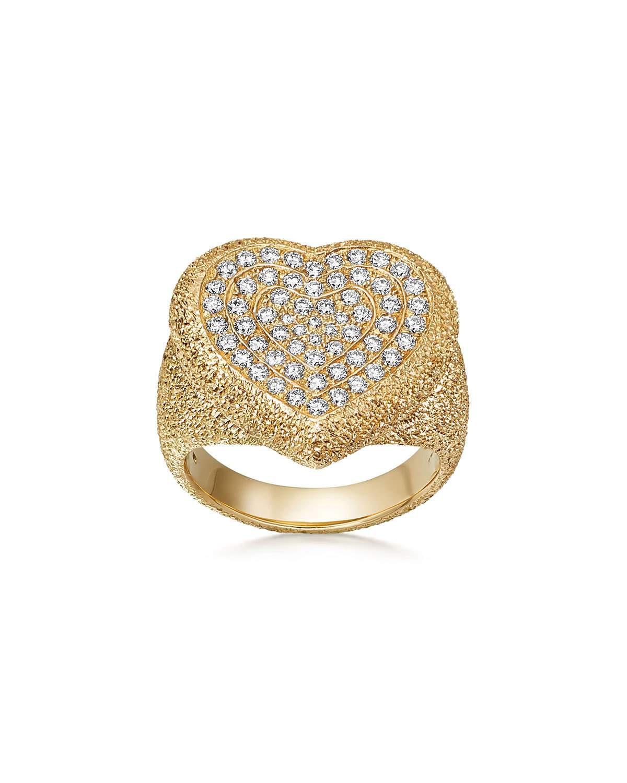 Carolina Bucci 18K Gold Florentine Pave Heart Ring