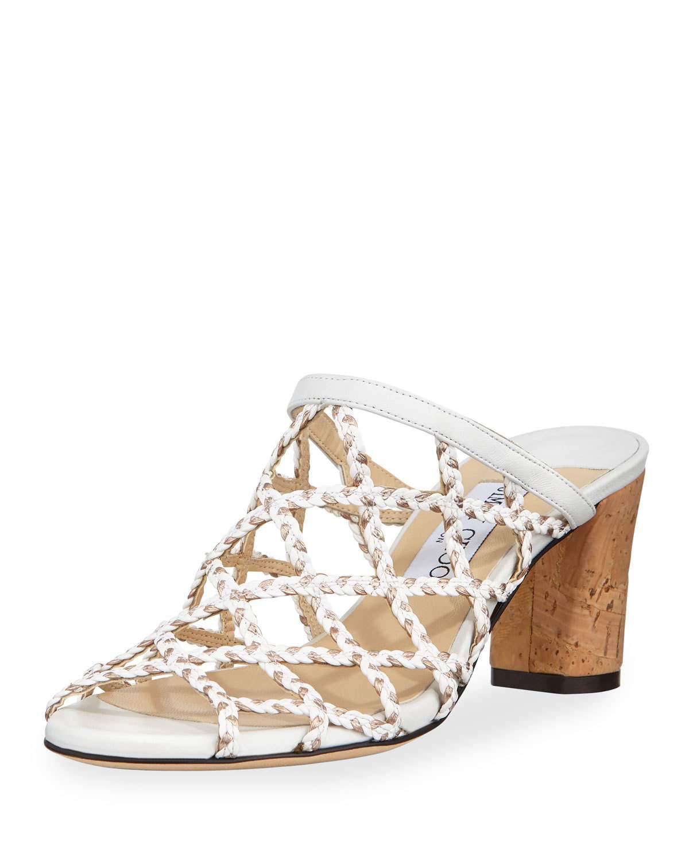 bc69adcbf23a Jimmy Choo Dalina Braided Leather Mesh Mule Sandals In White