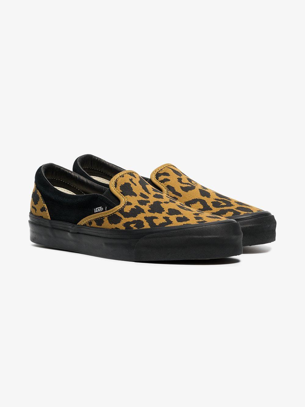 ee4c76505c Vans Black And Yellow Vault Ua Og Leopard Print Slip On Sneakers ...