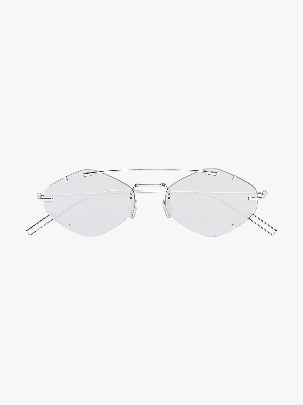 d80d37e87d97 Dior Eyewear Silver Tone Inclusion Geometric Sunglasses - Grey ...