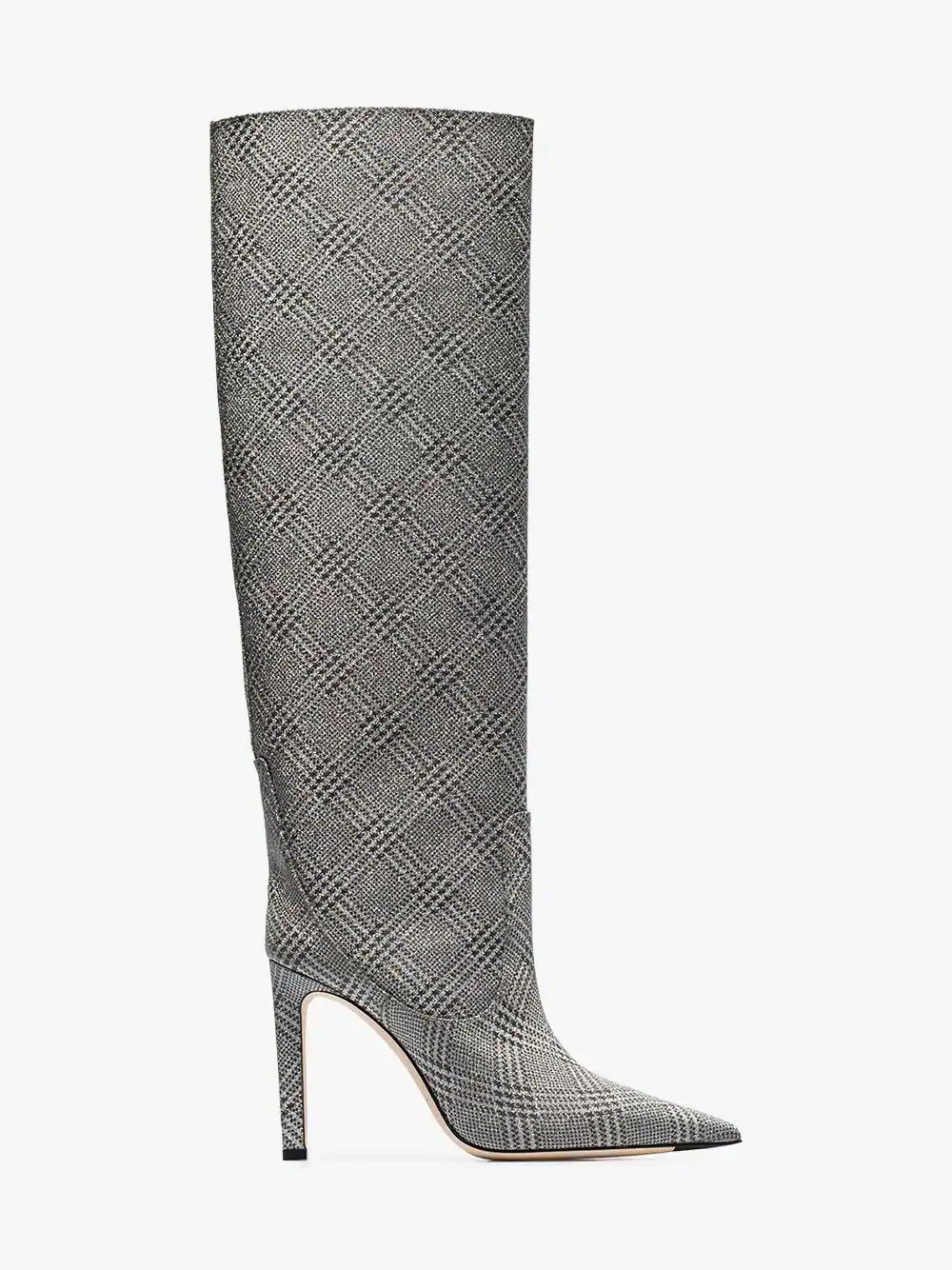6f2f9e1ad25 Jimmy Choo Mavis 100 Prince Of Wales Checked Glittered Leather Boots In  Silver