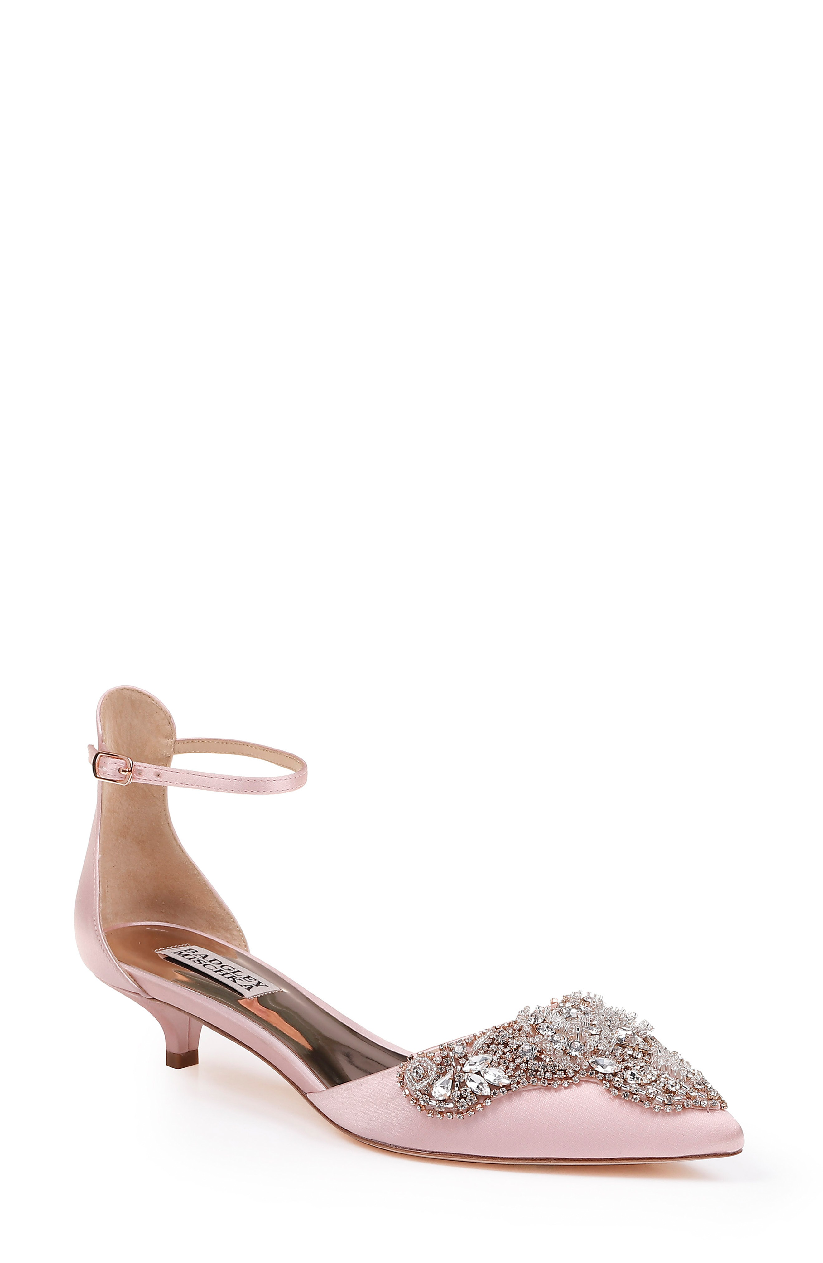 c3f6a59a145c Badgley Mischka Fiana Ankle Strap Pump In Powder Pink Satin