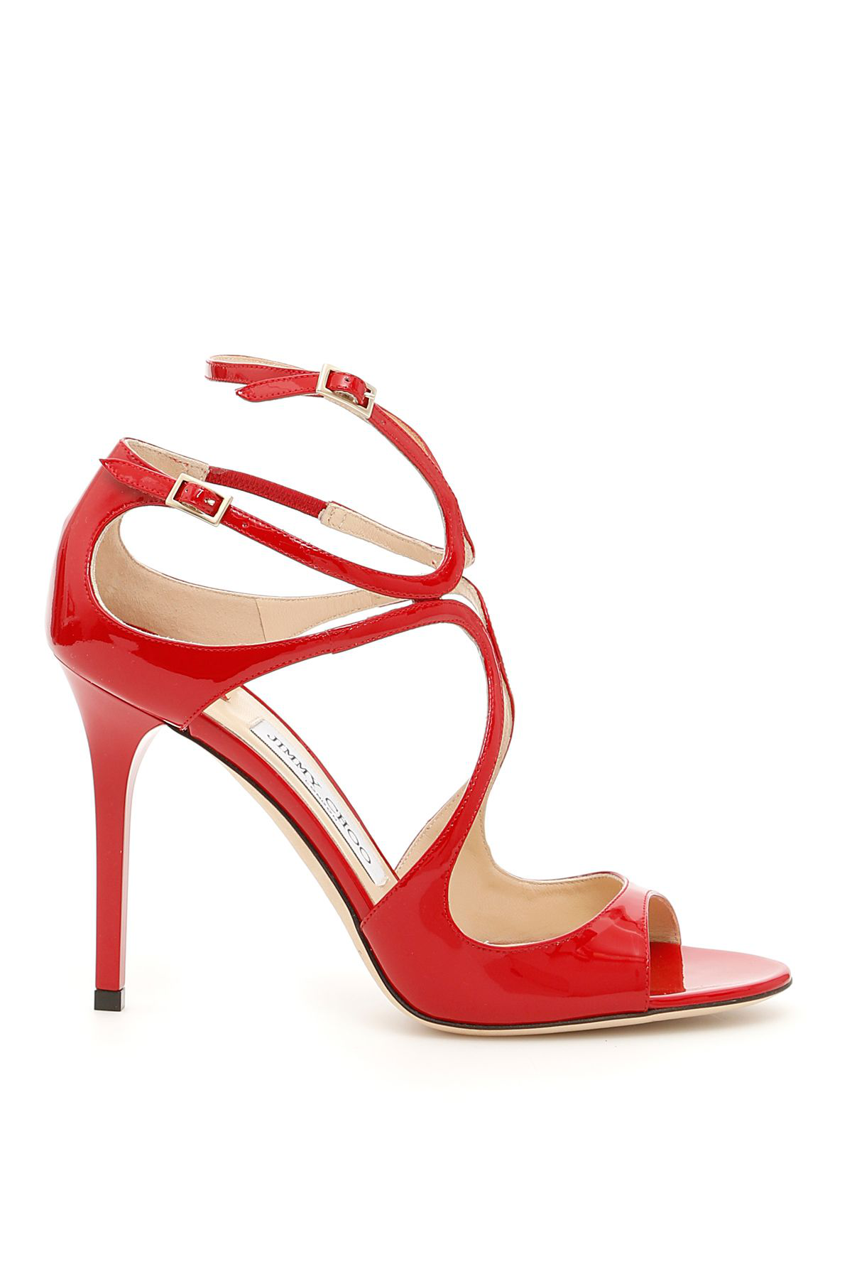 0492831fe6bd Jimmy Choo Lance Red Patent Leather Strappy Sandals