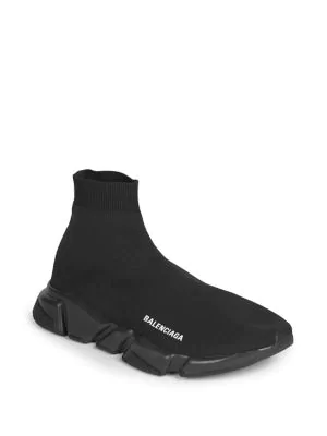 Balenciaga Men's Logo Speed Sneakers With Tonal Rubber Sole In Black
