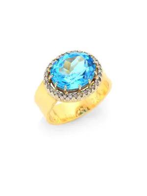 Renee Lewis Antique Diamond 18k Gold Surround Ring In Blue