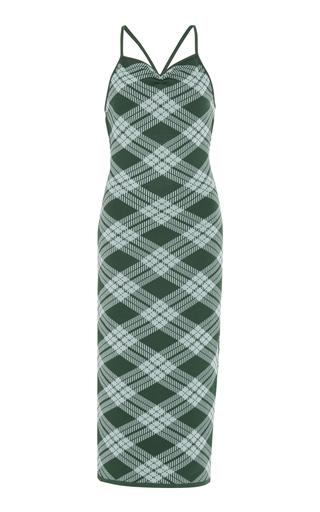 Alexa Chung Plaid Midi Dress In Green & Mint