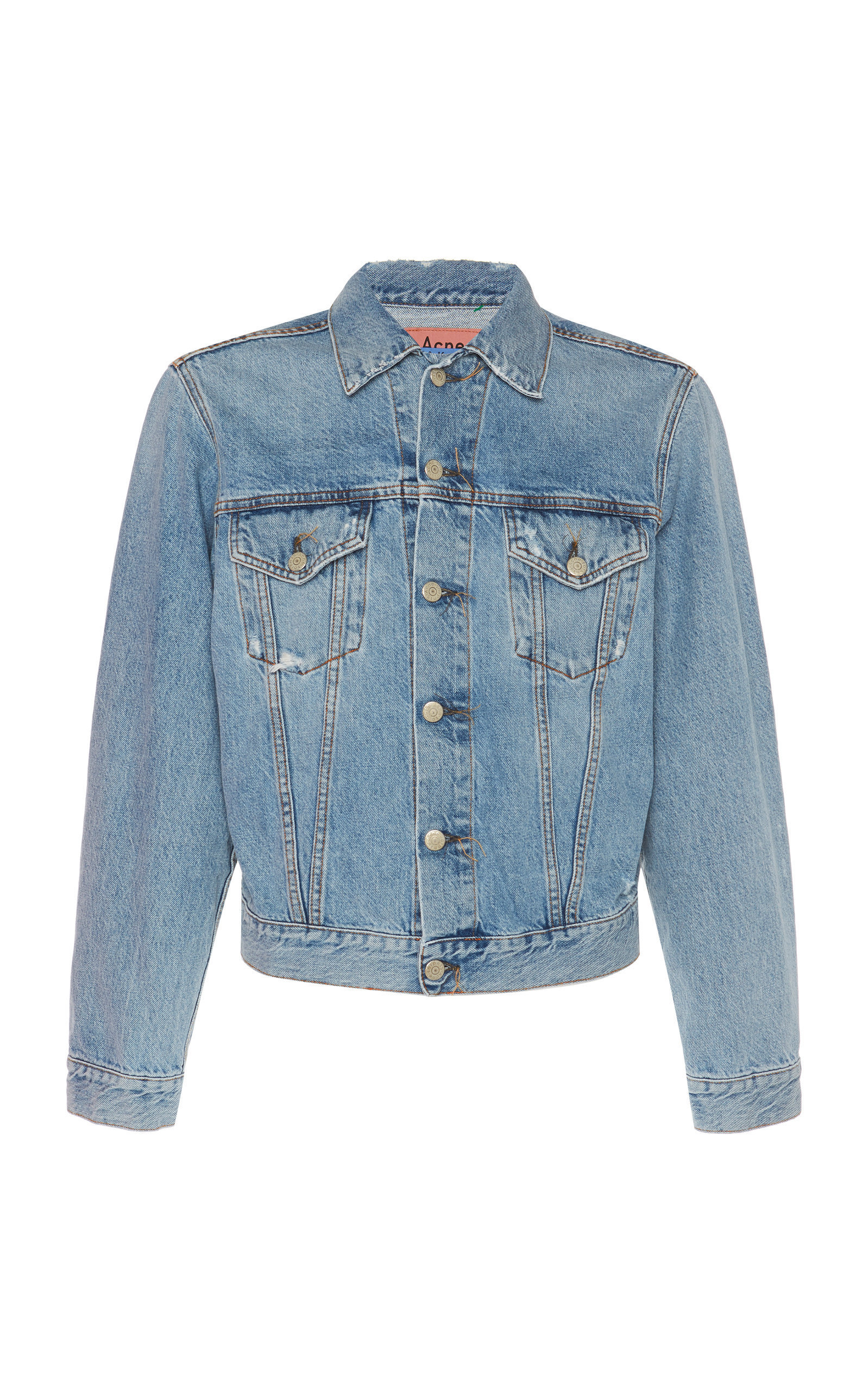 Acne Studios Distressed Denim Trucker Jacket In Light Blue