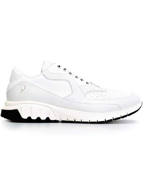 Neil Barrett Urban Low-top Leather Trainers In White