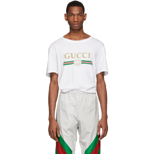 Gucci Vintage Logo Print Cotton Jersey T-shirt In 9045 White