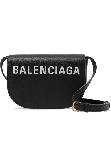Balenciaga Ville Day Xs Aj Printed Textured-Leather Shoulder Bag In Black