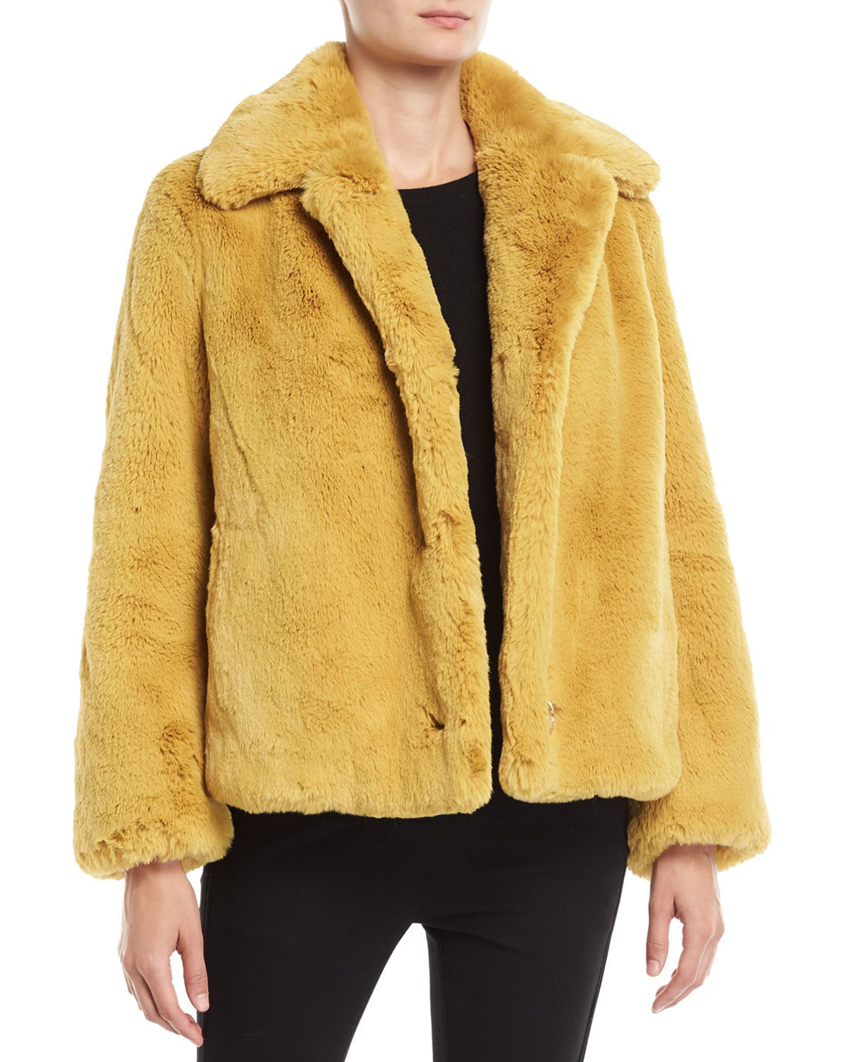 e826adc44ae Burberry Faux Fur Single-Breasted Jacket In Yellow
