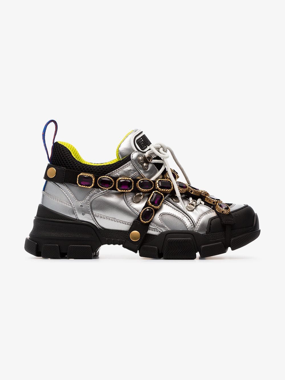 ec1a35b68cc Gucci Flashtrek Sneaker With Removable Crystals In Metallic