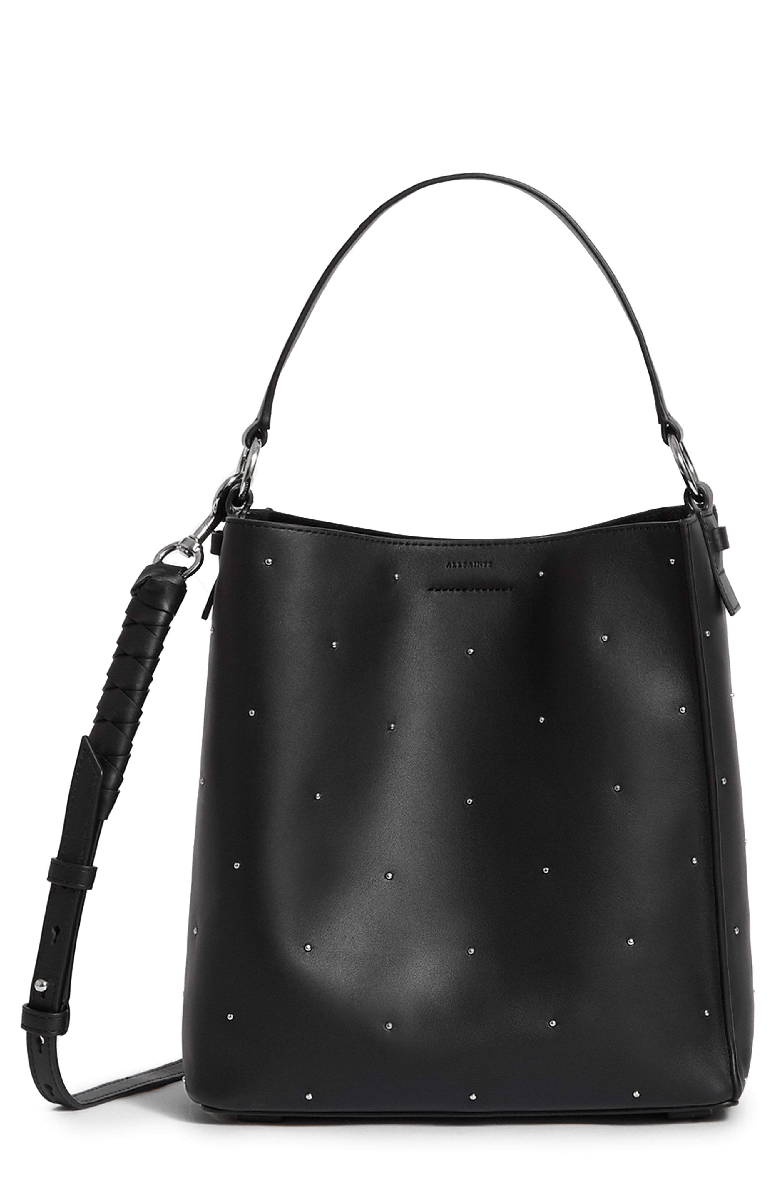 Allsaints Small Kathi Studded North South Leather Tote In Black ... 4ab24b3bf9a18