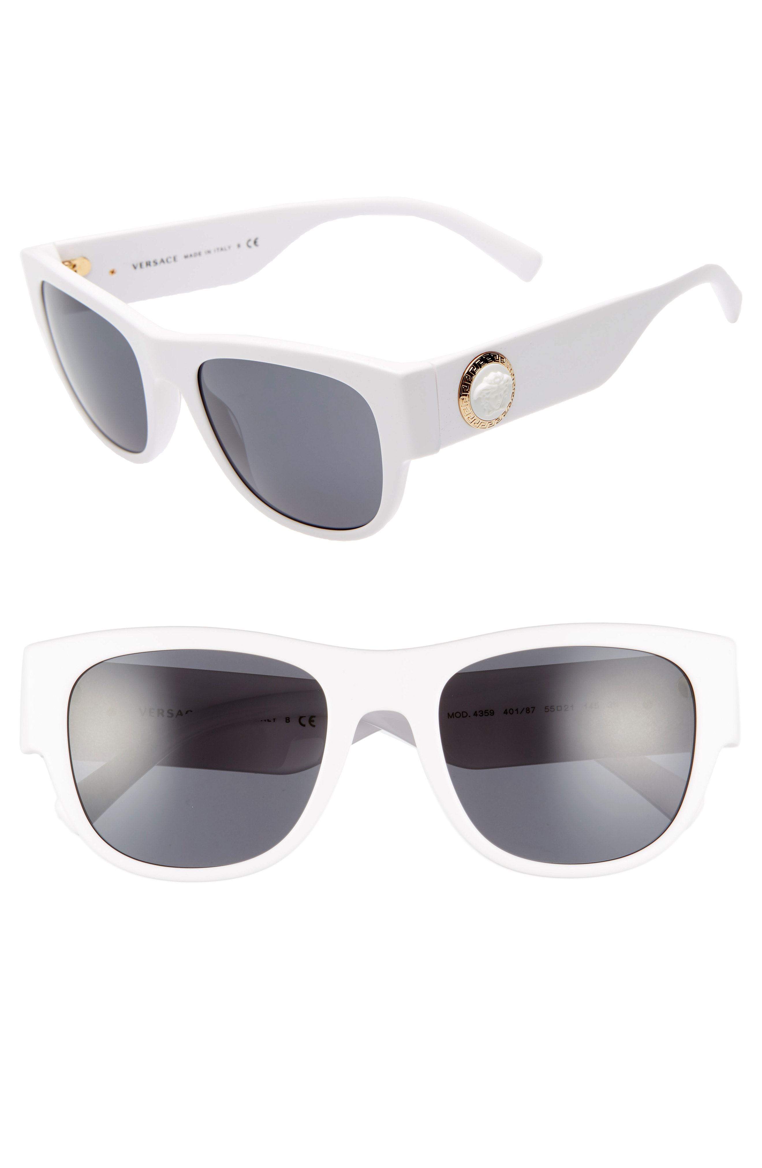 f61bbe2dd30b Versace 55Mm Square Sunglasses - White  Grey Solid In White Frames Grey  Lenses