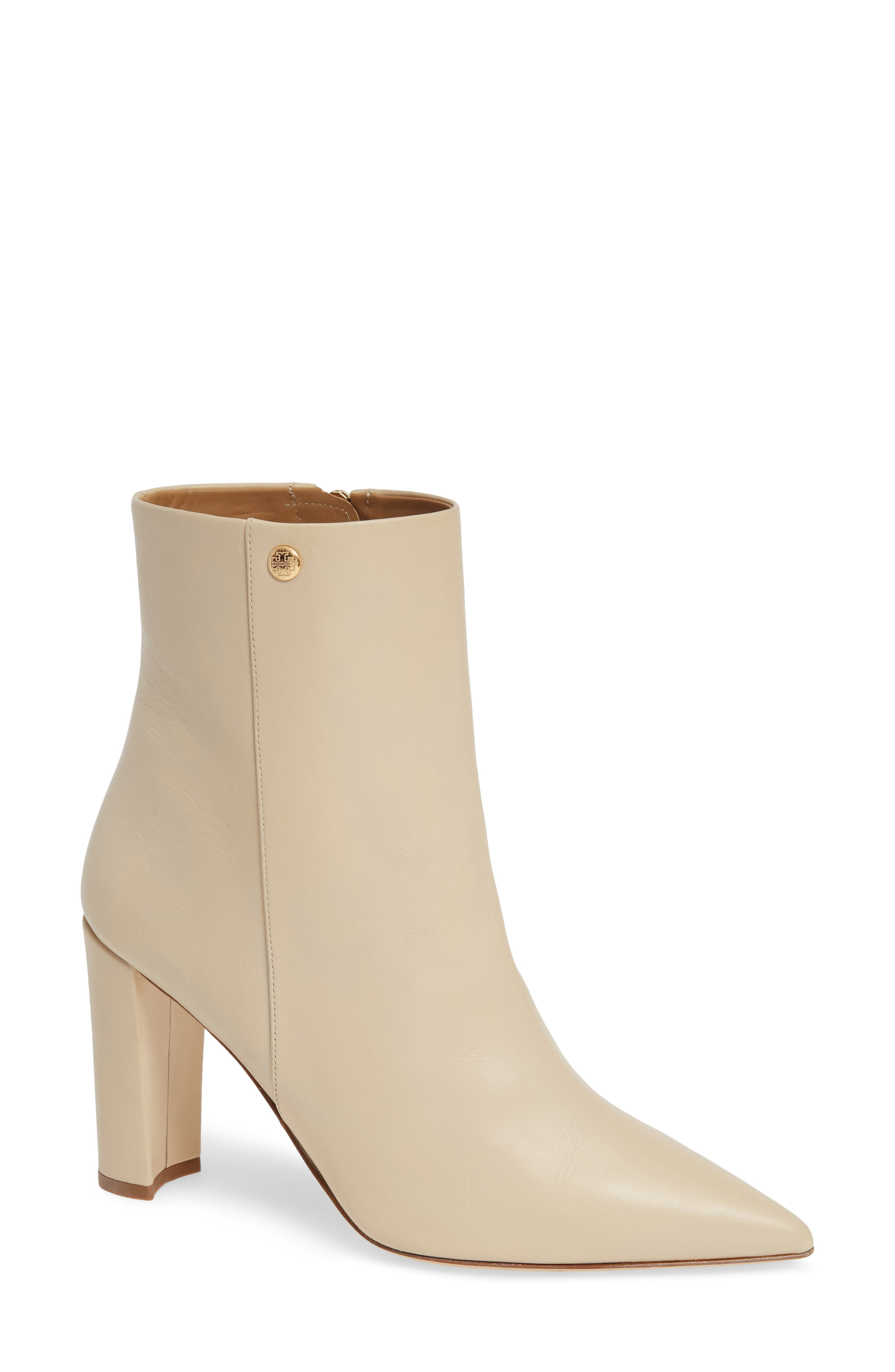 5dde91c3902a Tory Burch Women s Penelope Pointed Toe Leather High-Heel Booties In New  Cream