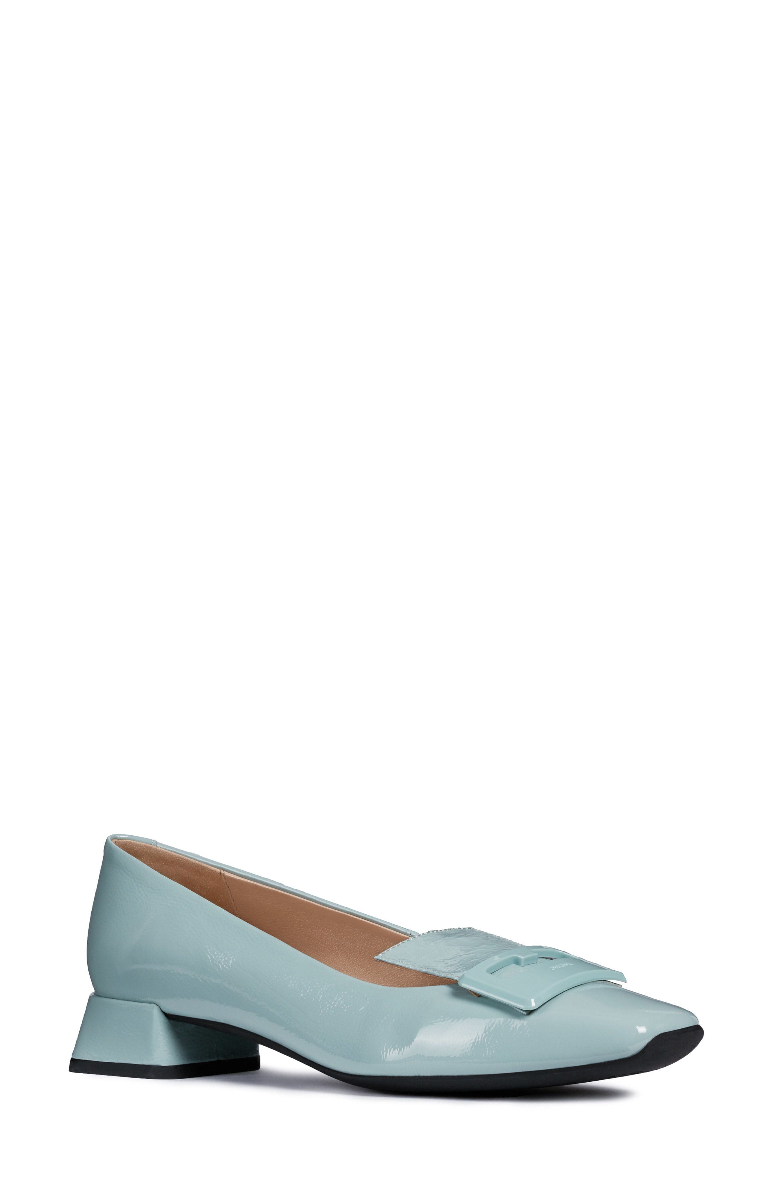 Vivyanne Square Toe Loafer Pump In Light Green Leather