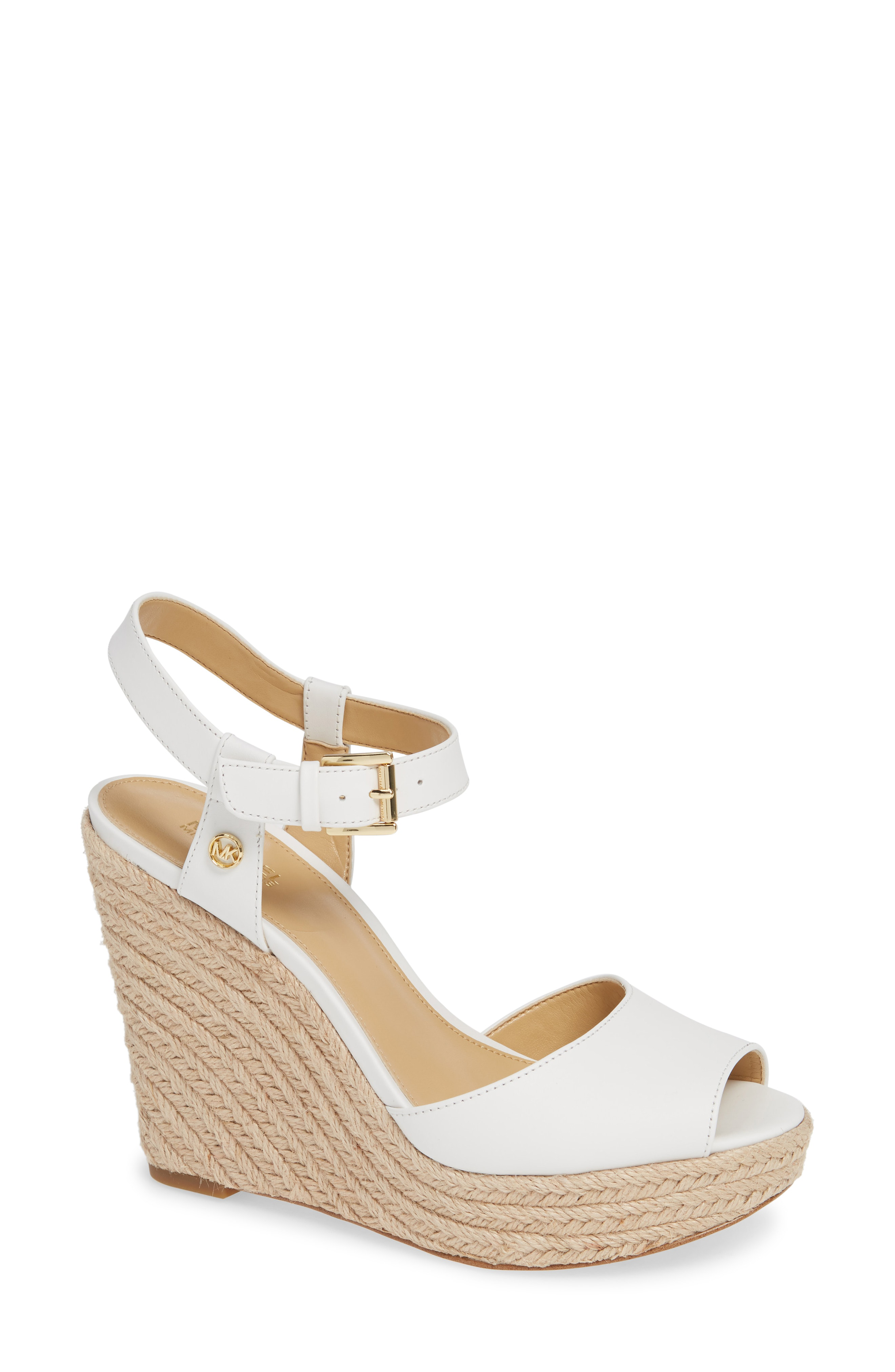 b264404cb7f0 Michael Michael Kors Carlyn Espadrille Wedge Sandal In White Vachetta  Leather