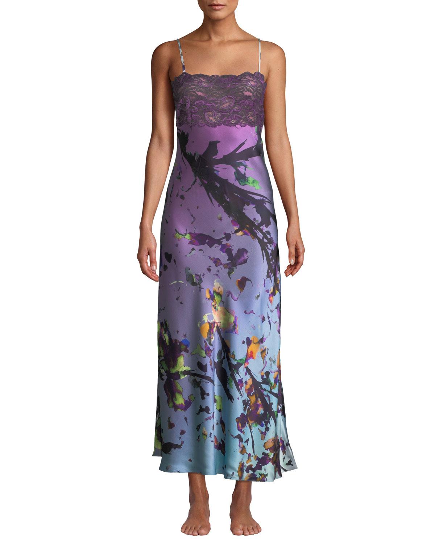 8e74e63d5c115 Christine Lingerie Kaleidoscope Silk Nightgown In Multi Pattern ...