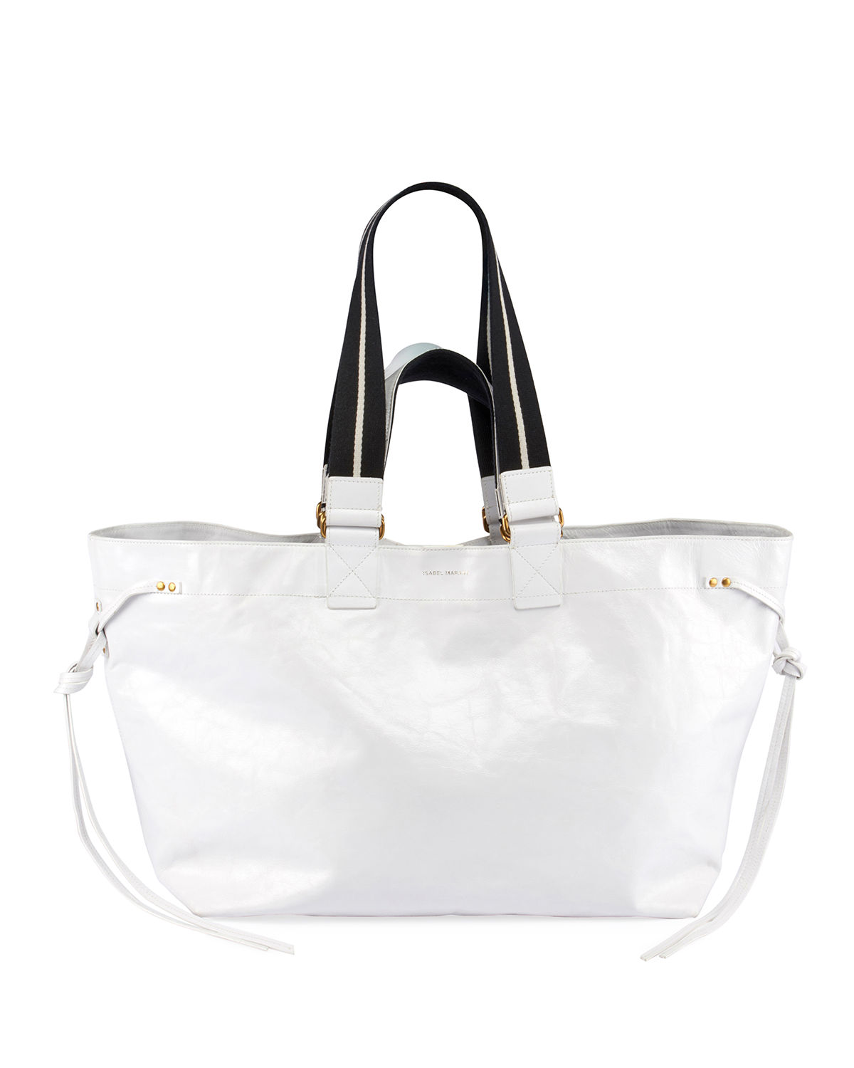 163556af6 Isabel Marant Wardy Canvas-Trimmed Textured-Leather Tote In White ...