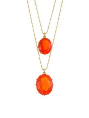 Renee Lewis 18k Yellow Gold & Fire Opal Double Pendant Necklace