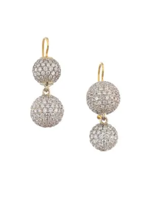 Renee Lewis 18k Yellow Gold & Pavé Diamond Sphere Drop Earrings