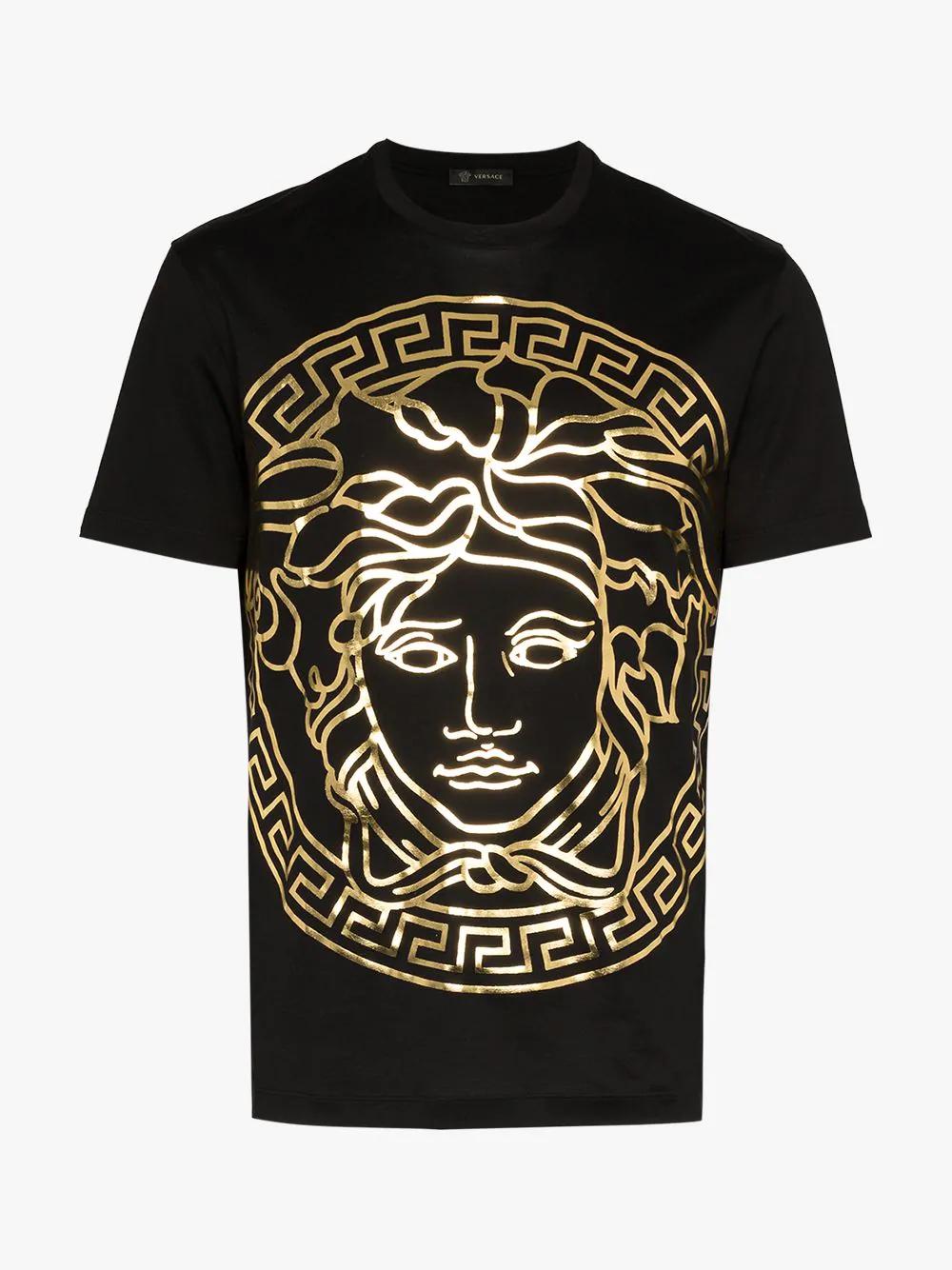 36a19209a Versace - Medusa Gold Print T Shirt - Mens - Black Gold   ModeSens