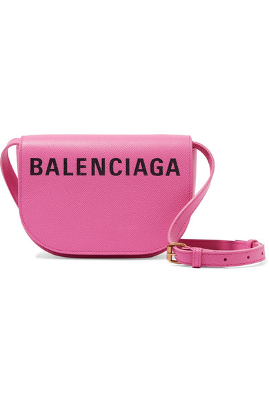 Balenciaga Ville Day Xs Aj Printed Textured-leather Shoulder Bag In 5560 Pink