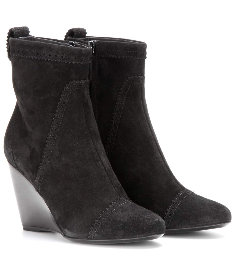 Balenciaga Suede Brogue Wedge Ankle Boots In Black