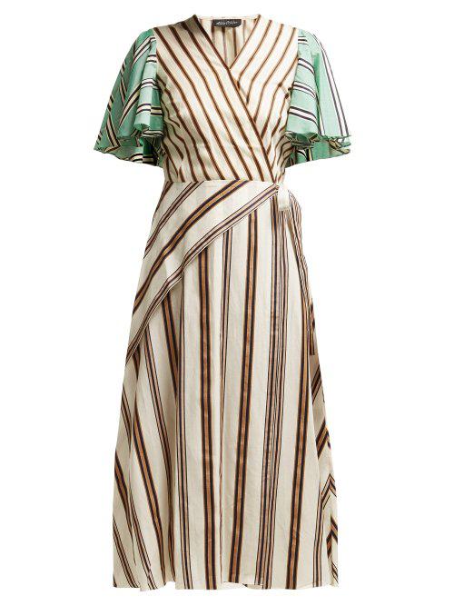Anna October Multi Stripe Wrap Dress In Cream Multi