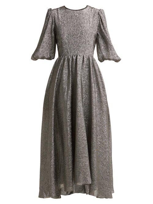 Anna October Open-back Metallic Silk-blend Dress In Silver