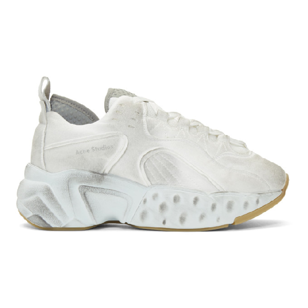 Acne Studios 'Manhattan Tumbled' Chunky Outsole Panelled Distressed Sneakers In White