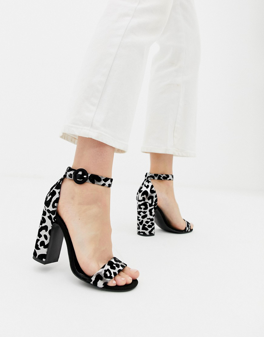New Look Barely There Block Heeled Sandal In Animal-stone