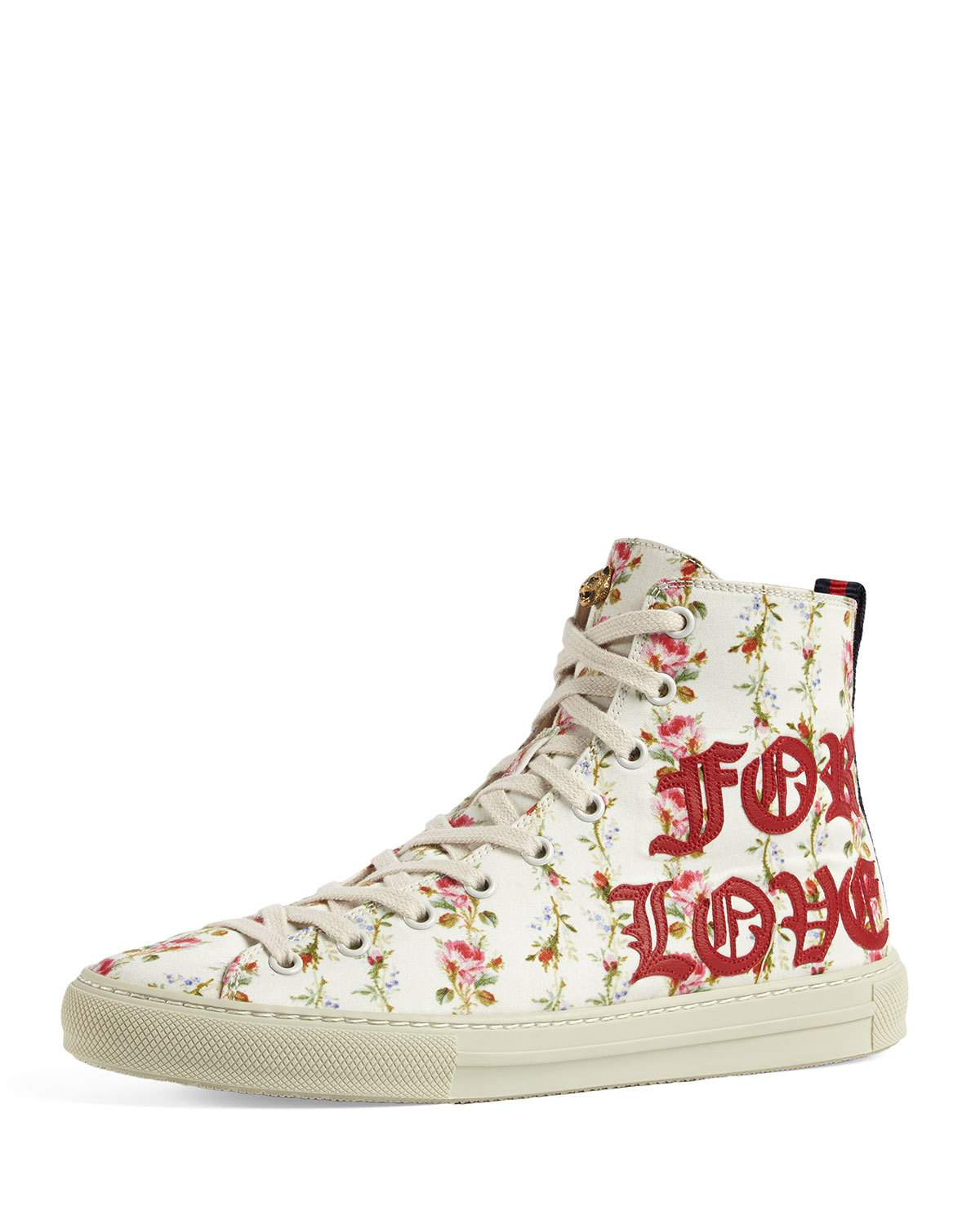 f7101b4b3324 Gucci Major Blind For Love Rose Print Satin High Top Sneakers In Ivory