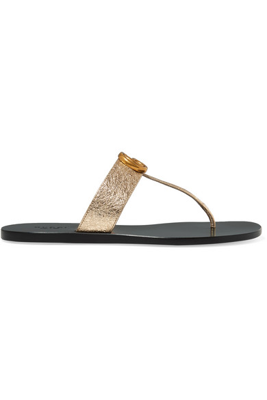 Gucci Marmont Logo-Embellished Metallic Textured-Leather Sandals In Gold